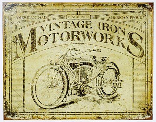 Vintage Iron Motorworks Tin Sign 16 x 13in ()