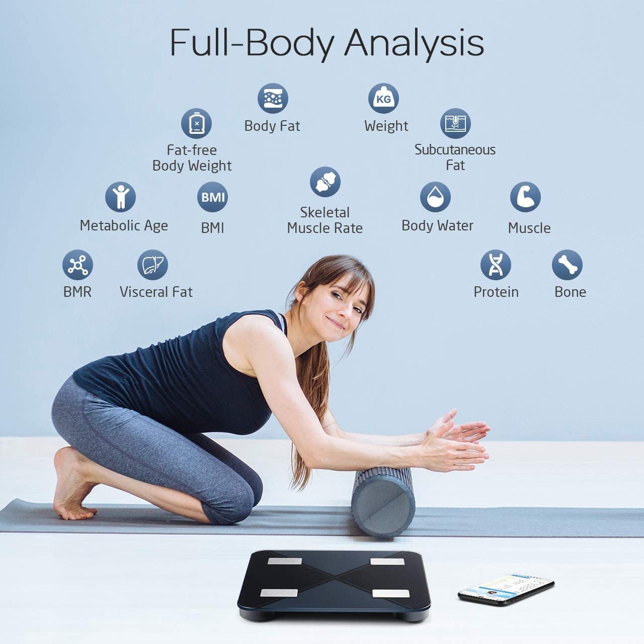 Báscula inteligente, Mpow Body Fat baño báscula cuerpo Composición ...
