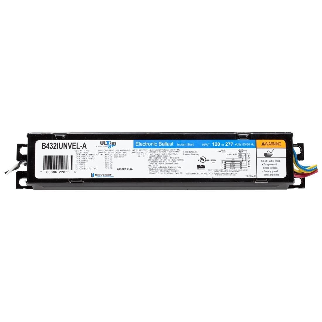 Universal Lighting Technologies B432IUNVEL-A010C Electronic Fluorescent Ballast, 120-277V, 3 Or 4 Lamp