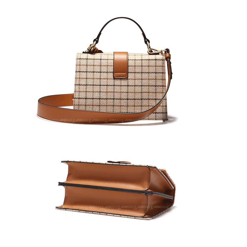 Color : Brown, Size : 24.510.528CM BaiFuRen Autumn and Winter Plaid 2018 New Retro Fashion Shoulder Messenger Bag Handbag
