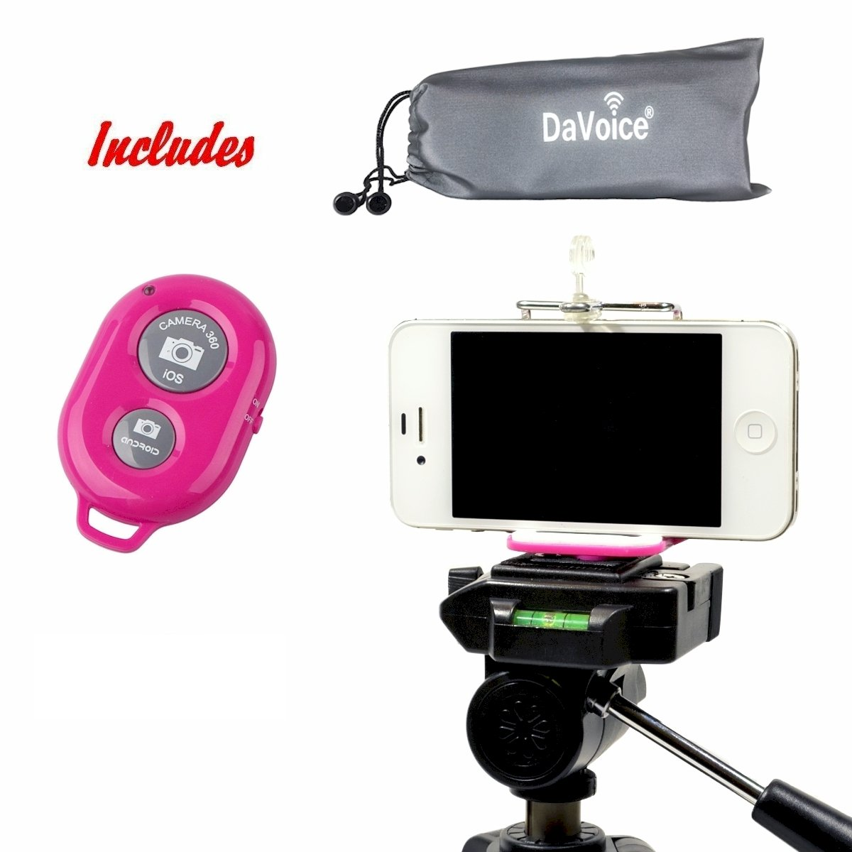 DaVoice Cell Phone Tripod Mount Adapter Holder + Bluetooth Remote Control + Carry Bag for iPhone X Se 8 7 6 6s Plus 5 5s 5c Samsung Galaxy S9 S8 S7 S6 S5 Edge Universal Bracket Attachment (Hot Pink)