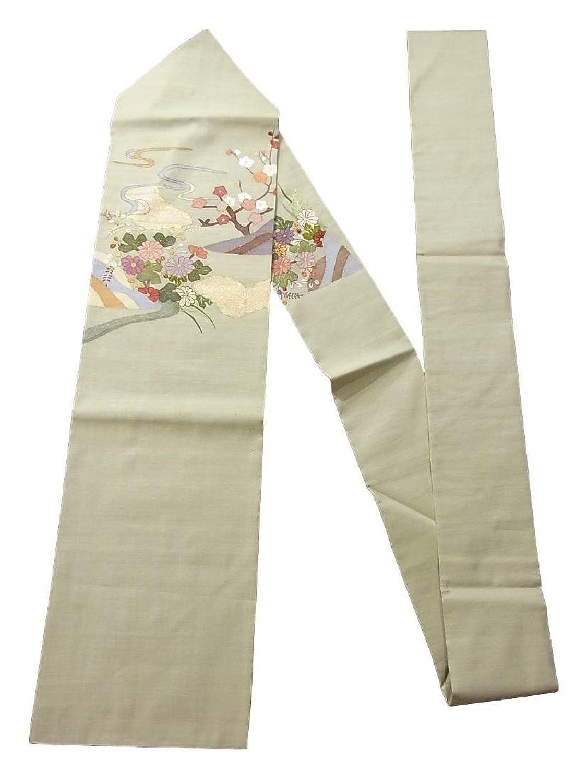 リサイクル 名古屋帯 明綴れ 流水に菊や枝梅 正絹 B07DPGZ8YZ  -
