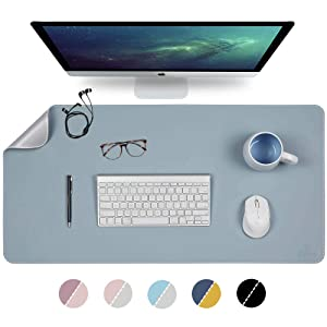 "Knodel Desk Mat, Office Desk Pad, 31.5"" x 15.7"" PU Leather Desk Blotter, Laptop Desk Mat, Waterproof Desk Writing Pad for Office and Home, Dual-Sided (31.5"" x 15.7"", Lightblue/Silver)"