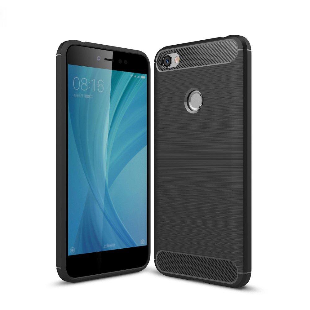 OVIphone Funda Gel TPU cepillado Premium Anti Golpes efecto Fibra de CARBONO para Xiaomi Redmi Note 5A Prime Color Negro