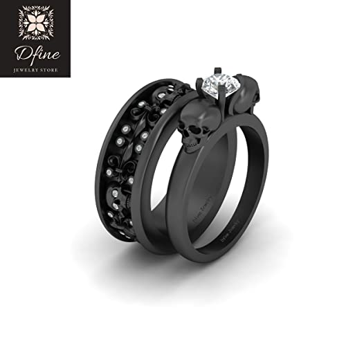 Amazon Com Diamond Skull Engagement Ring Band Set Gothic Wedding