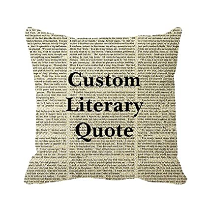 Custom Literature Quote Book Page Background Linen Burlap Throw Pillow Sham Cushion Cover Home Decorative