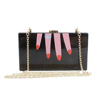 eccdf9f3b705e Mogor Finger Shape Purse Shoulder Handbag Acrylic Clutch Evening Bags for  Women Black