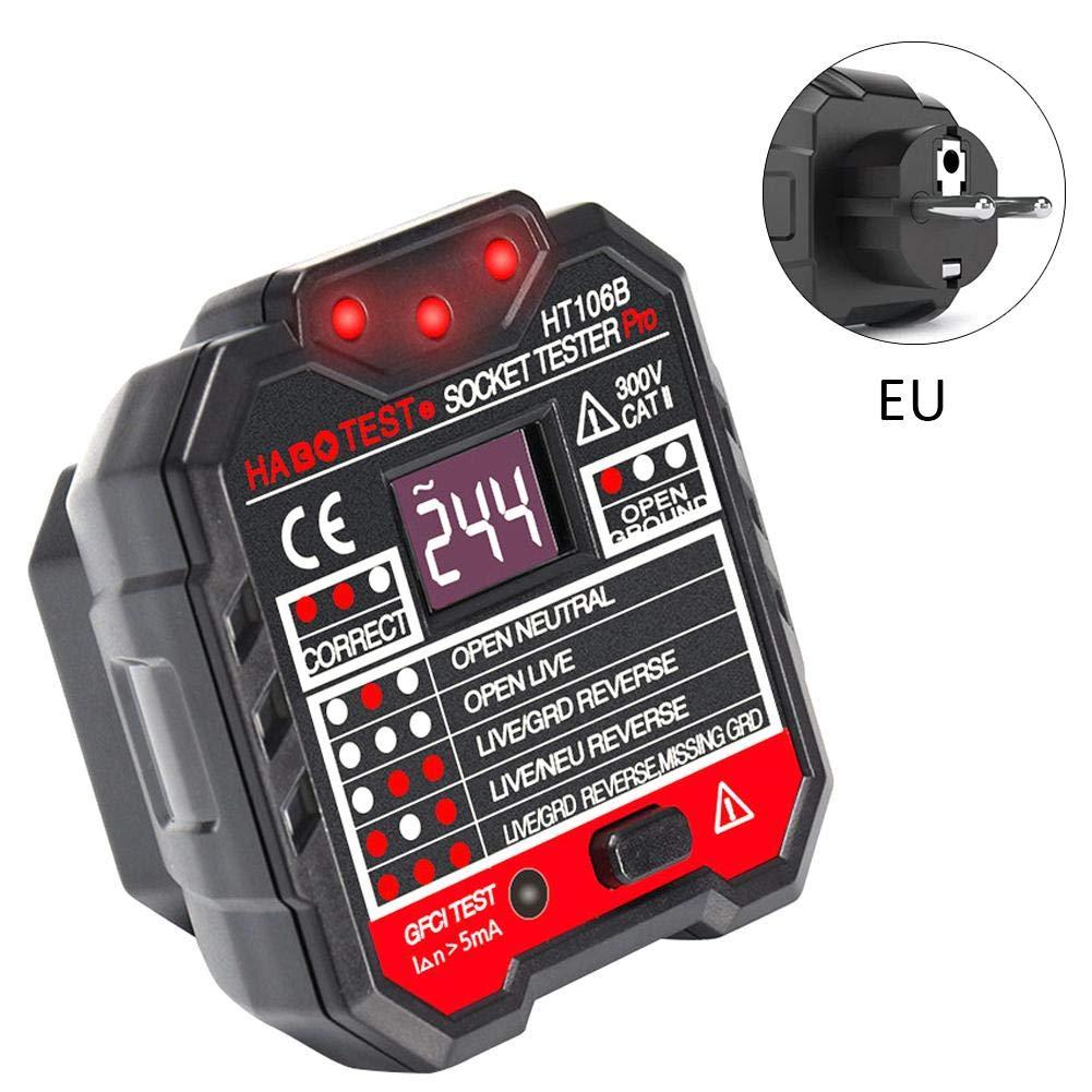 20V /± 20V,7 LED Light Patterns Quiet.T Rilevatore di Presa di Corrente Tester,Elettrodo di polarit/à di Potenza del rivelatore di Fase HT-106B