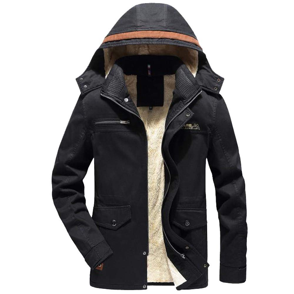 Men Winter Coat Sale Warm Plus Velvet Slim Buttons Zipper Detachable Hat Jacket Overcoat