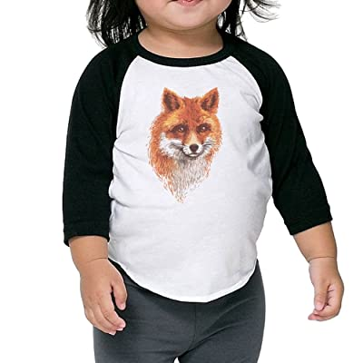 CHENLY Unisex Kid's Sleeves Warm Cartoon Fox Cotton 3/4 Sleeves T-Shirt For Kids