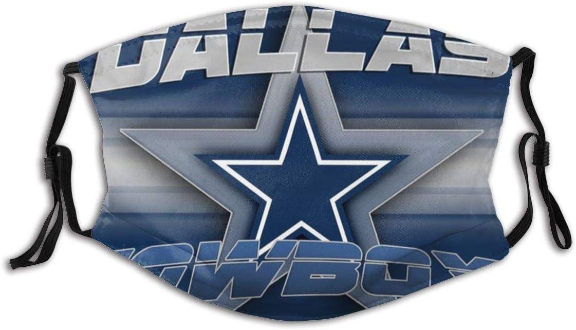 Gooeyokoi Mundschutz mit Filter Waschbar Atmungsaktive Staubdicht Bandana Dallas Cowboys