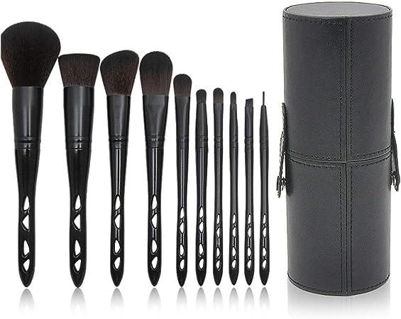 YzDnF Maquilladora para Uso Diario Pinceles de Maquillaje Suave con Estuche de Viaje cosmético portátil 10pcs Pinceles de Maquillaje Accesorios establecidos (Color : Black, Size : 11x19x2.5cm): Amazon.es: Hogar