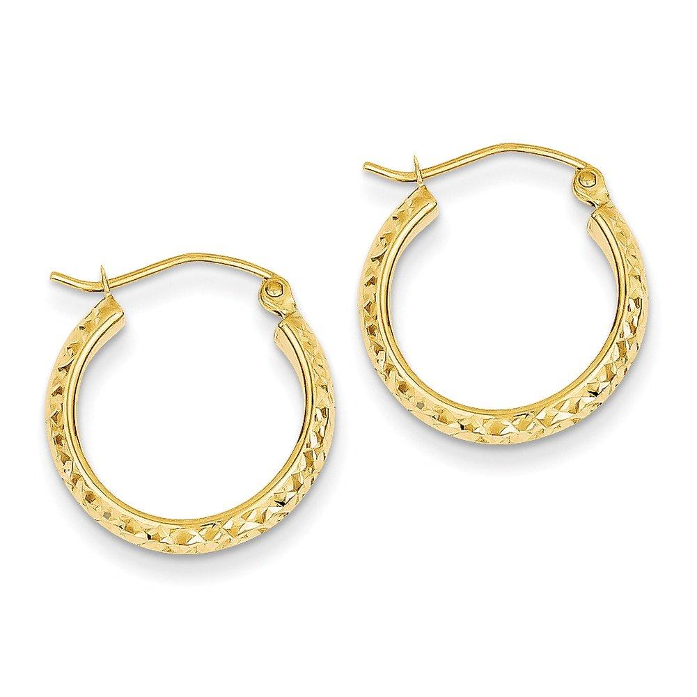 Lex /& Lu 14k Yellow Gold D//C 3.5x17mm Hollow Hoop Earrings
