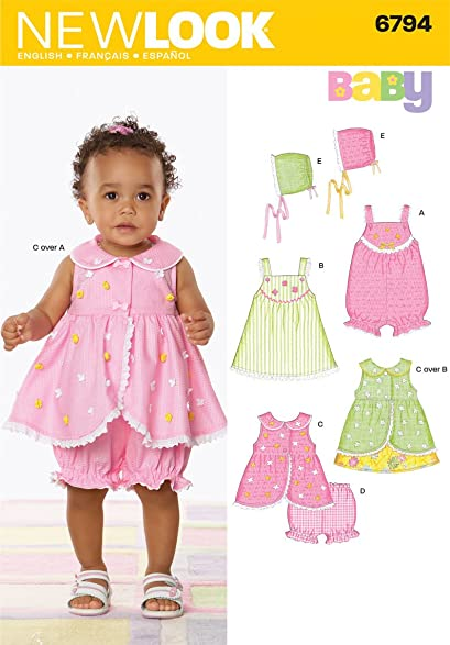 Amazon New Look Sewing Pattern 6794 Babies Dresses Size A Nb