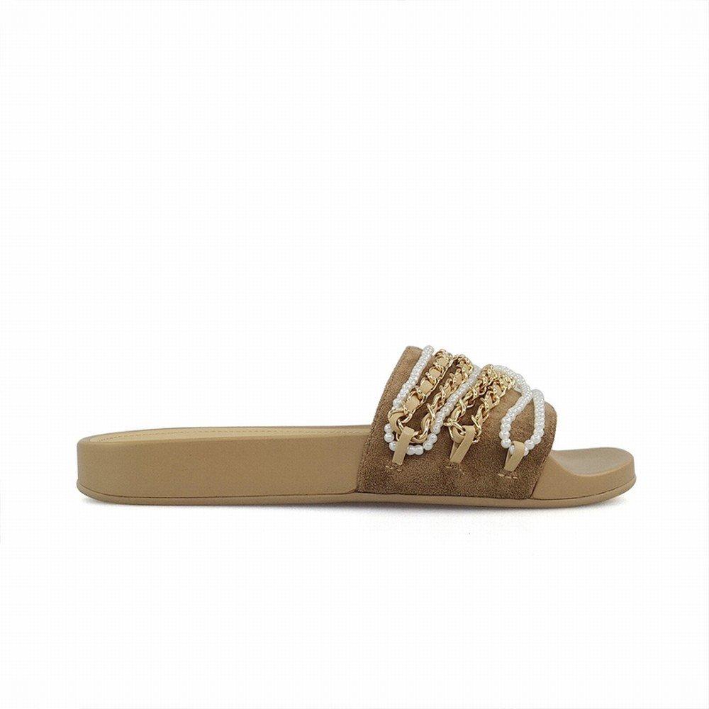 DHG Untere Perlenkette, die Starke Flache Untere DHG Wortpantoffel trägt,Aprikose,36 728dd2