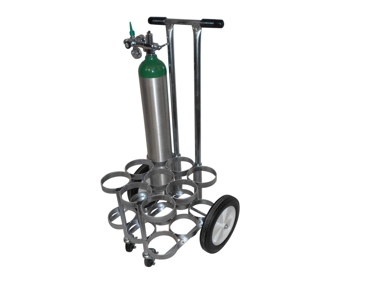 FWF OXYGEN 4-WHEEL ROLLING CART HOLDS 9 (D OR E STYLE) CYLINDERS DIAMETER 4.3'' MADE IN USA