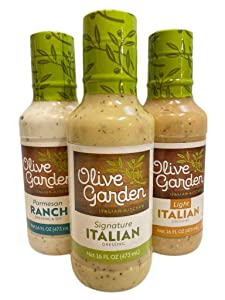 Olive Garden Salad Dressing Bundle: Signature Italian, Light Italian, Parmesan Ranch - 16 ounces each