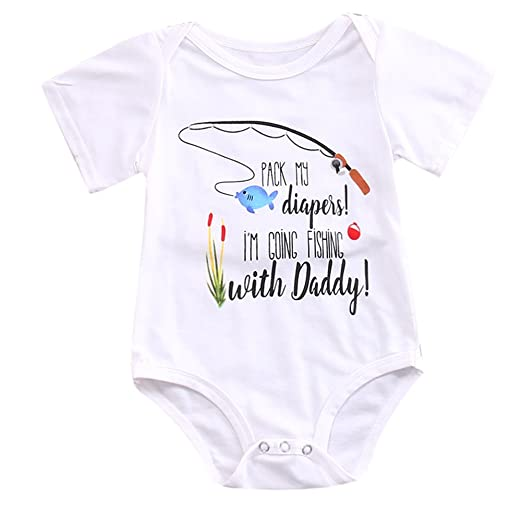 341eb2d9c72686 Amazon.com  ONE S Newborn Infant Baby Boys Girls Short Sleeve Fishing with  Daddy Bodysuit Romper Outfits  Clothing