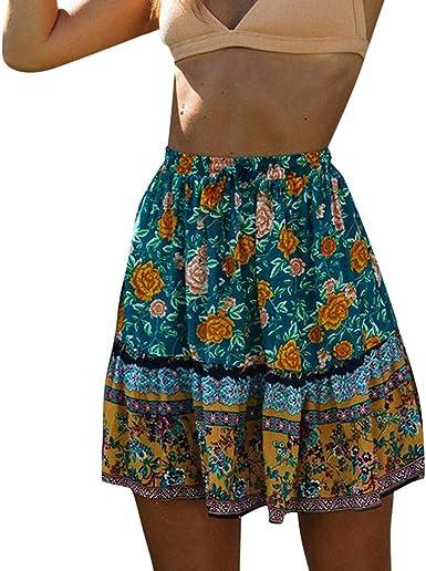 TWGONE Ruffled Mini Skirt for Women Summer Bohe High Waist Floral Print Beach Short Skirt