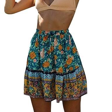 Vectry Mujer Veranor Bohemian Flower Impresión Falda Playa Cintura ...