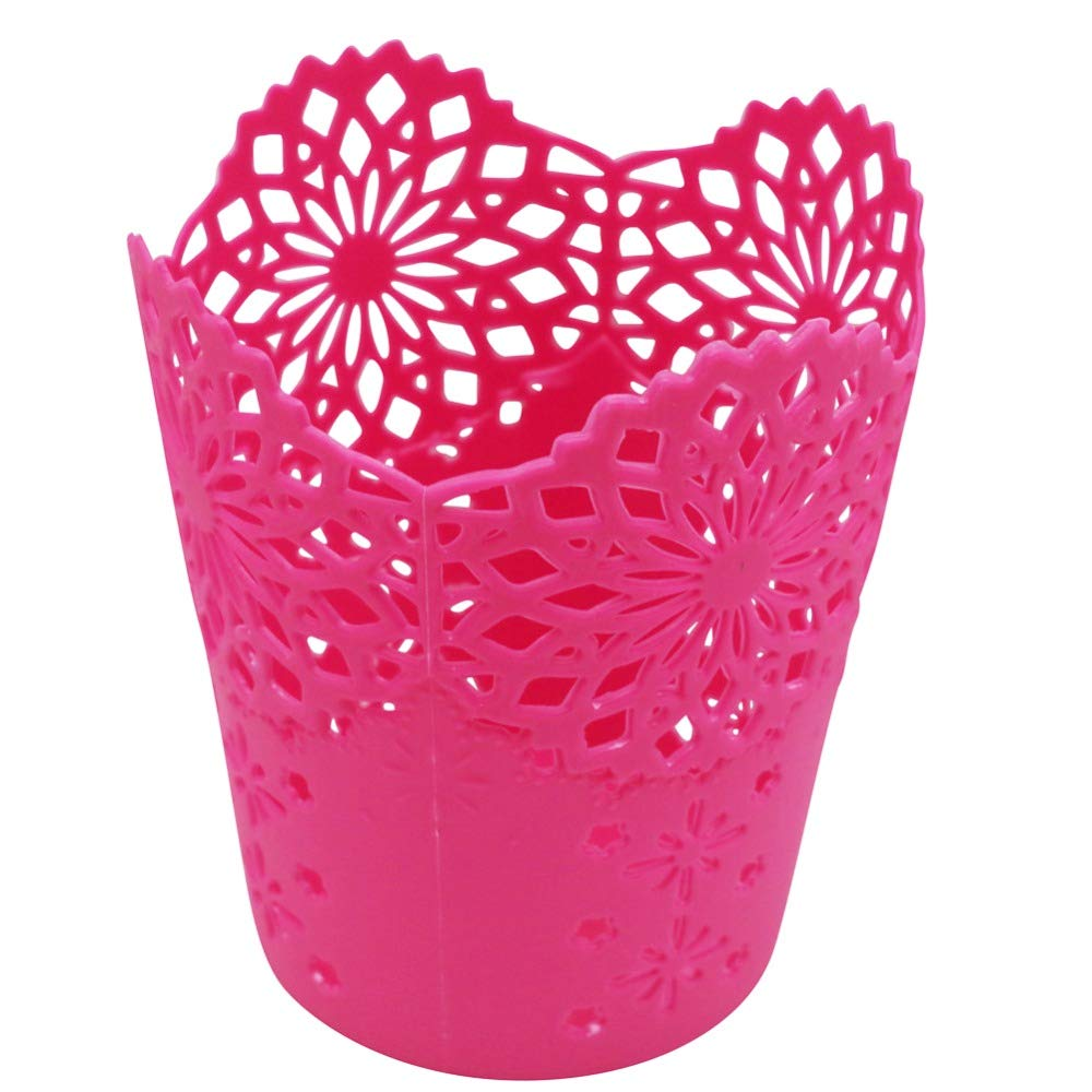 LAAT Hollow Pen Holder Plastic Desktop Trash Can Rubbish Basket Office Desk Organizer Paper Debris Storage Bucket Table Dustbin Garbage Bin Without Lid (Red)