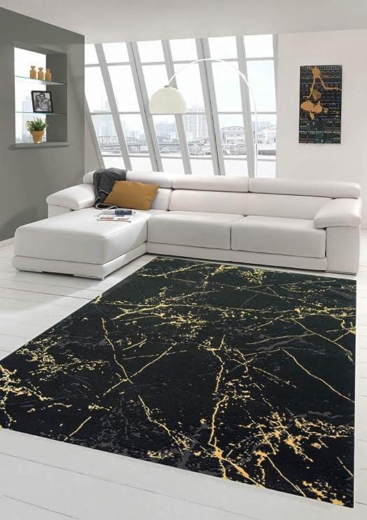 Teppich Wohnzimmer modern Teppich Marmor Optik in schwarz Gold Größe 10x10  cm