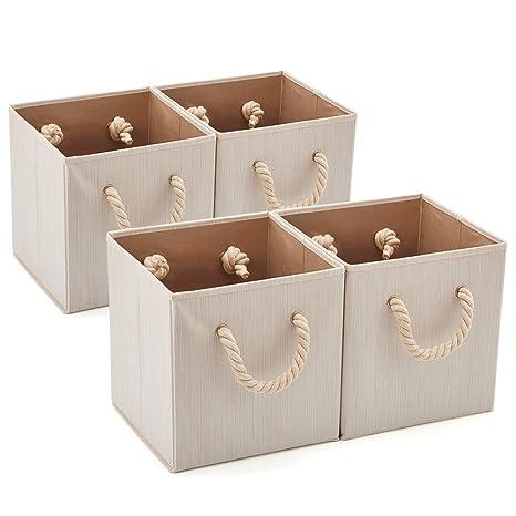 EZOWare 4 pcs Cajas de Almacenaje, Cubo Decorativa de Tela Plegable Resistente con Manijas para