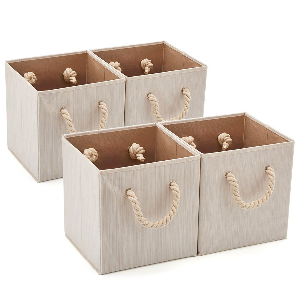 Set of 4 EZOWare Foldable Bamboo Fabric Storage Bin with Cotton Rope Handle, Collapsible Water Resistant Basket Box Organizer for Shelves, Closet, and More – (10.5x10.5x11 inch) (Beige)