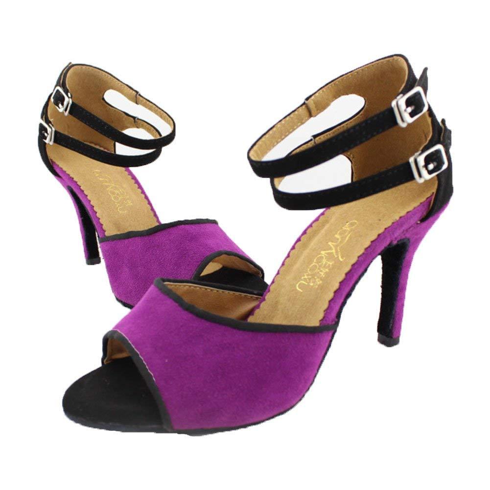 ZHRUI Latin Dance Schuhe für Frauen Gb Social Dance Schuhe Sandale Ballroom Dance Schuhe (Farbe   Lila Größe   Foot Length=21.8CM8.6Inch)