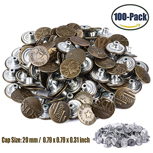 Jeans Buttons Metal Tack Buttons Replacement Kit 100 Pieces 20mm Button Studs with 10 Styles Bronze by FENGWANGLI (Button Replacement Kit)