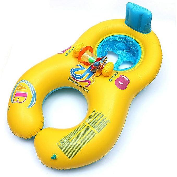 JSZ Bebé y Mami Piscina Barco, Padres-niño Piscina Flotador Seguro Asiento Inflable Madre niño Nadar Anillo Verano Divertido Swim Trainer (1-4 años): ...