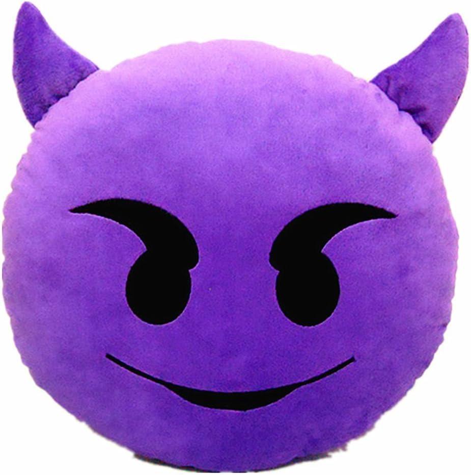 Emoji bomien de demonio y funda de almohada de dulce de cojines del sof/á de peluche de juguete de coj/ín acolchado de silla coj/ín del asiento con dise/ño especial de colour p/úrpura