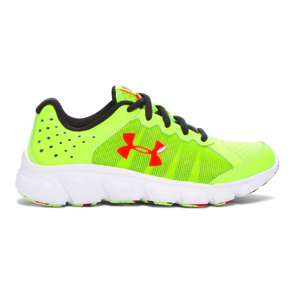 Under Armour Kids Boy's UA BPS Assert 6 (Little Kid) High-Vis Yellow/White/Anthem Red Sneaker 1 Little Kid M by Under Armour