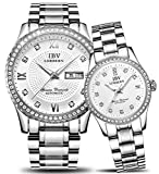 Couple Automatic Mechanical Watch Men and Women Waterproof Watches Two Tone for Her or His Gift Set 2 (Silver White)