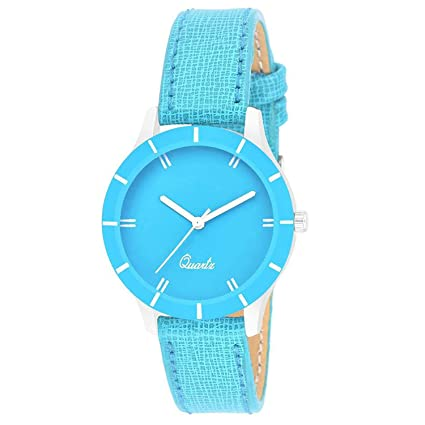 Bhakti Fashion 605 Sky Blue Attractive Leather Wrist Watch for Women