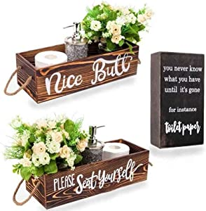 Nice Butt Bathroom Decor Box, Rustic Home Decor Farmhouse Bathroom Decorations, Funny Bathroom Signs, Toilet Paper Storage – 2 sides of Cute Sayings Comes with a Box Sign
