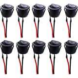 Twidec/10Pcs AC 6A/250V 10A/125V SPST 2 Pins 2 Position On/Off Car Boat Round Black Rocker Switch Toggle with Pre…