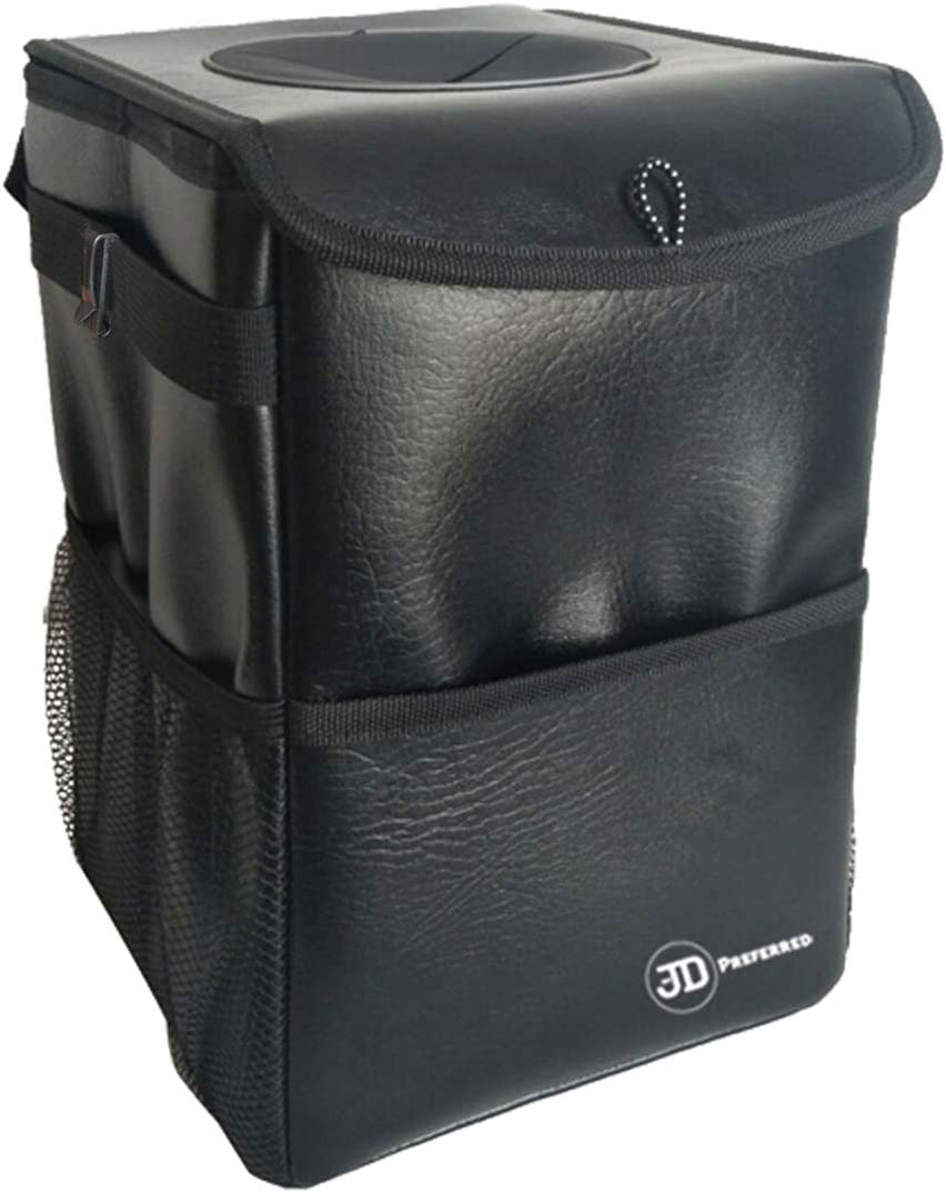 Odor Free Portable Trash Bin-Best for Vehicles RV Boats JD Preferred Boat Trash Can with Lid-Premium Quality Hanging Car Garbage Bag with Storage Pockets-100/% Leak Proof