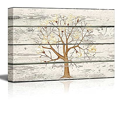 Cherry Blossom Tree Cross Hatch Artwork - Rustic Canvas Wall Art Home Art - 16x24 inches