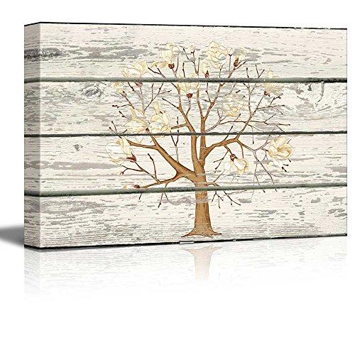 Cherry Blossom Tree Cross Hatch Artwork Rustic