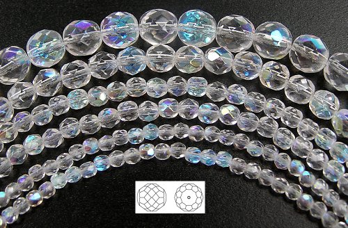 6mm (68) Crystal AB, Czech Fire Polished Round Faceted Glass Beads, 16 inch strand