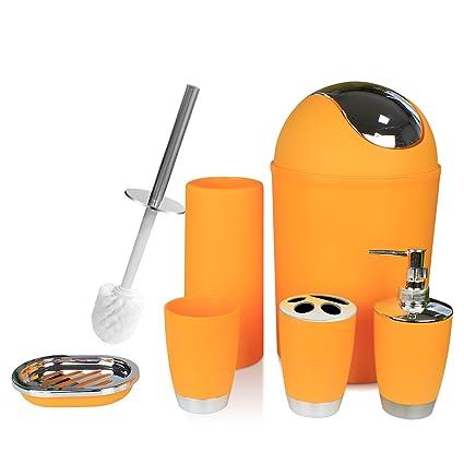 Beau TEKITSFUN Orange Bathroom Accessories Set,6 Pcs Plastic Gift Bath Accessory  Set Luxury Ensemble Includes