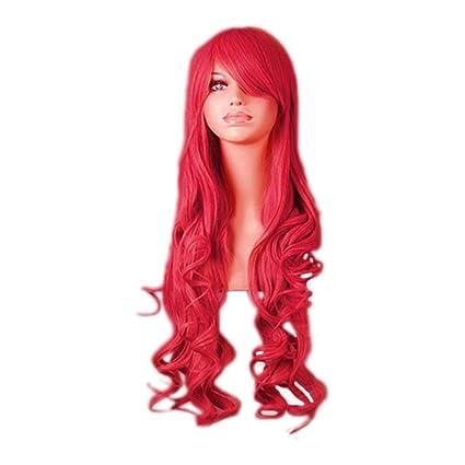 Peluca de mujer sexy rizado largo Cosplay peluca de Halloween pelo Lady pelucas llenas de vino