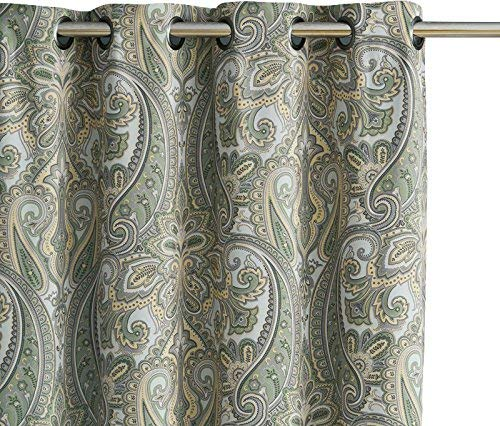 HLC.ME Paris Paisley Print Damask Thick Thermal Insulated Energy Efficient Room Darkening Blackout Grommet Top Window Curtain Panels for Nursery & Playroom - Set of 2-50