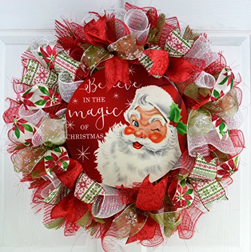 Santa Claus Wreath | Christmas Mesh Outdoor Front Door Wreath; White Red Emerald Lime Green