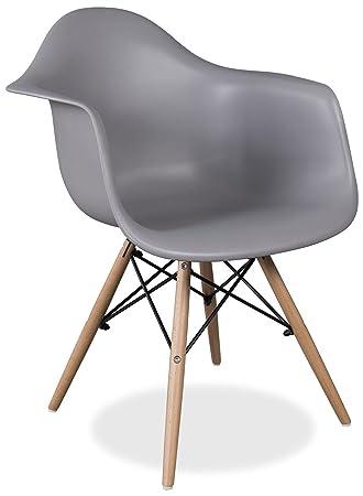 Zolta Stuhl Schalenstuhl Sessel PLASTIKSTUHL Retro KUCHE ESSZIMMER Grau  Weiß Schwarz (Grau, 1)