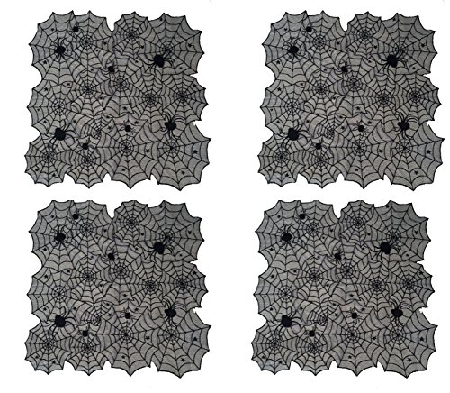 Premium Decor Set of 4 Halloween Lace Table Topper 40 Inch Square – Black