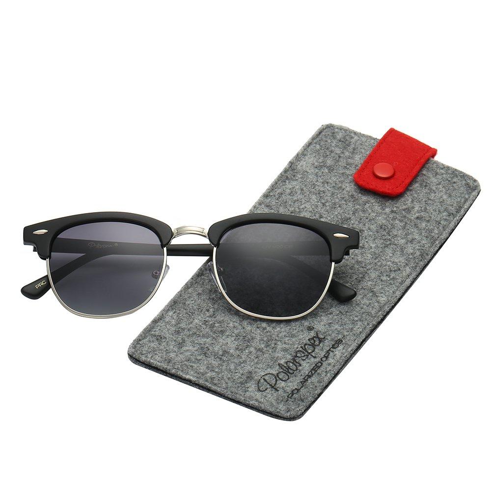 Polarspex Unisex Retro Classic Stylish Malcom Half Frame Polarized Sunglasses