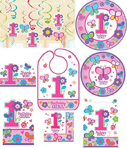 - Amscan Girl's 1st Birthday Party Pack! Bundle of Plates, Napkins, Bib, Invitations, Thank Yous, Loot Bags and Hanging Decorations