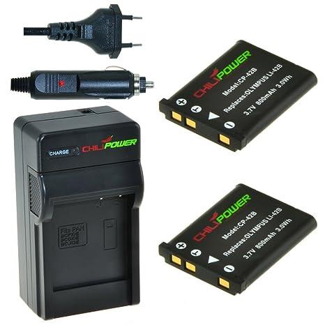 Chili Power Kit: 2 x Batería + Cargador COMPATIBLES con Olympus LI-40B, LI-42B, Fuji NP45, Pentax D-Li63, Nikon EN-EL10 Casio NP-80, Kodak KLIC-7006